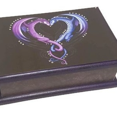Twin Dragons Keepsake Trinket Treasure Jewellery Memory Wooden Box