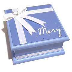Little Blue Keepsake Trinket Treasure Jewellery Memory Wooden Box