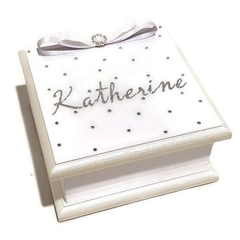 'All that Sparkles' White & Silver Keepsake Trinket Treasure Jewellery WoodenBox