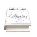 'All that Sparkles' White & Silver Keepsake Trinket Treasure Jewellery WoodenBox