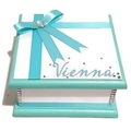 Turquoise & White Keepsake Trinket Treasure Jewellery Bridal Memory Wooden Box
