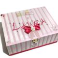 Baby Girl Keepsake Trinket Treasure Memory Wooden Box - Polka Dots