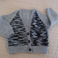 Size 2-3 yrs - cardigan in greys  by CuddleCorner:  Boy, washable, easy care
