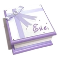 Little Purple & White  Keepsake Trinket Treasure Jewellery Memory Wooden Box