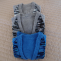 Size 6-12 mths hand knitted cardigan in Blues by CuddleCorner: Washable, unsex