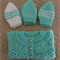 Size 0-6mths hand knitted baby jacket/cardigan and  beanies: unisex, washable