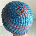 Pure Wool Beanie, Woman, Teen, Handspun, Hand Dyed merino wool, Blue/Red/Grey