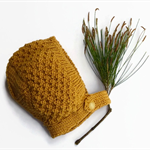Baby bonnet vintage style mustard newborn hand knitted hat with vintage button