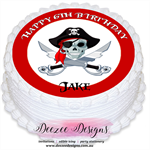 Pirate Face Personalised Round Edible Icing Cake Topper - PRE-CUT