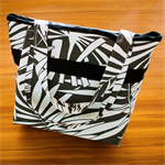 Large Canvas Tote Bag - lined shopping tote - grey black & white with pockets