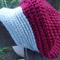 crochet cap.  Burgundy and cream pure wool