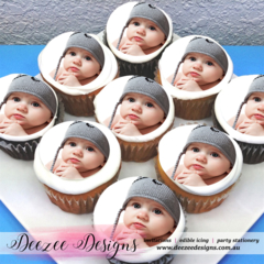 "Photo Personalised Edible Icing Cupcake Toppers - 2"" - PRE-CUT"