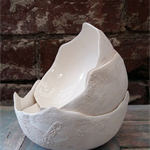 Textured Ceramic Bowl, White
