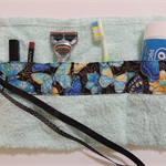 toothbrush holder. makeup roll. travel accessory. camping & overnight stays.