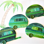Green fabric coasters, caravan mug rug set of four
