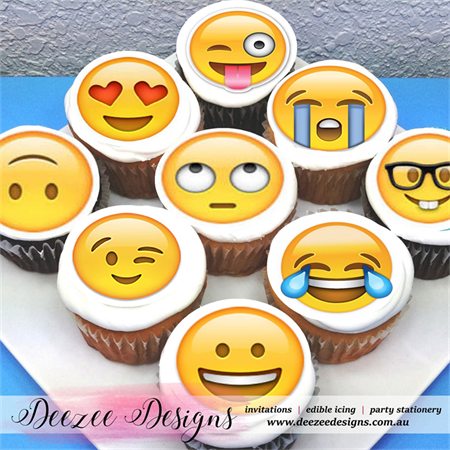 "Emoji Edible Icing Cupcake Toppers - 2"" - PRE-CUT"
