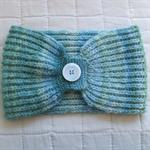 Neckwarmer Collar Scarf Merino Wool Hand Dyed Spun Knitted Buttoned Aqua Marine