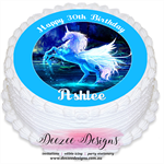 Unicorn Personalised Round Edible Icing Cake Topper - PRE-CUT