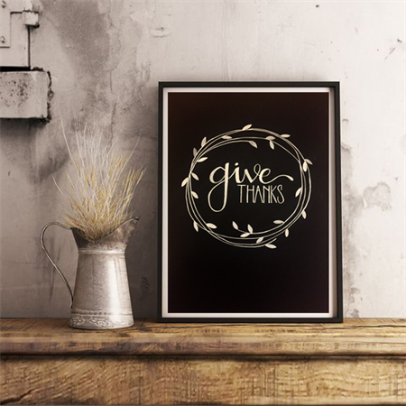 'GIVE THANKS' original hand lettering poster/wall art - White lettering