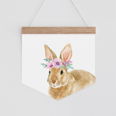 Wall Banner - Julia Rabbit - watercolour bunny with flowercrown