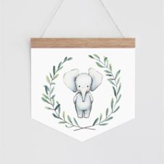 Wall Banner - Baby Elephant - watercolour elephant in wreath