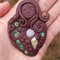 Wide earth spirit pendant- clay and crystal goddess necklace