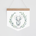Wall Banner - Baby Elephant - watercolour elephant in wreath