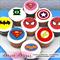 "Superhero Logo Edible Icing Cupcake Toppers - 2"" - PRE-CUT"