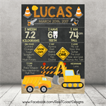 CONSTRUCTION ZONE Themed 1st Birthday Milestone Keepsake Print DIGITAL PDF