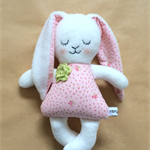 Easter Bunny Doll | girl rabbit with pink rosebud floral dress