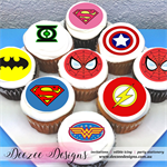 "Superhero Logo Edible Icing Cupcake Toppers - 2"" - PRE-CUT"