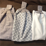 3 long crochet top towels ideal for laundry or bathroom