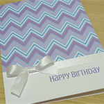 Female Happy Birthday card - purple chevron