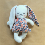 Easter Bunny Doll | girl rabbit with navy and peach floral dress