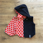 Size 3 Reversible Vest - Navy Polar Fleece /Red and White Scallops READY TO POST
