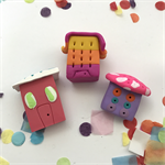 Miniature Fantasy Land - Polymer clay house set of 3 sculpture