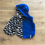 Size 1 Reversible Vest - Blue Fleecy / Black and White Whales READY TO POST