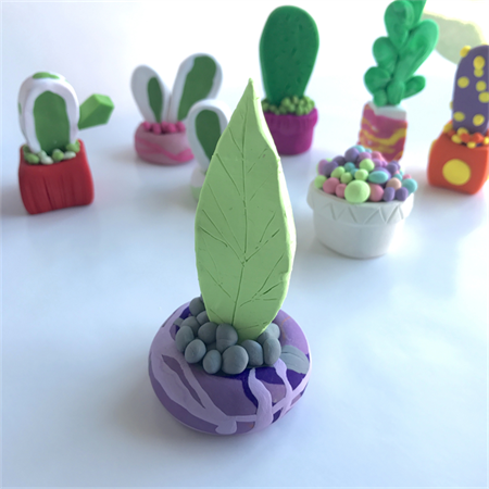Miniature Fantasy Garden - 2 Polymer clay plants / cactus / cacti / sculpture