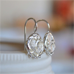 Sterling Silver Rose Relic Hook Earrings.
