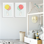 """Floating Bunnies"" Children's Wall Art Prints - Set of 2"