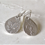Sterling Silver Maple Leaf Teardrop Hook Earrings.