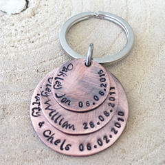 Mothers Day Keyring, Copper Anniversary Gift, Gift For Mum, Hand Stamped Keyring