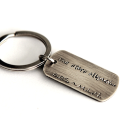 Dog Tag Keyring, Hand Stamp Anniversary Gift, For Husband, Mens Birthday Gift