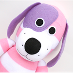 'Dorothy' the Sock Dog - pink & white stripes with purple ears - *READY TO POST*