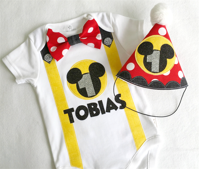 Mickey Mouse 1st Birthday Onesie And Party Hat Boys