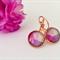 Pink, Rose Gold Kidney Hook Glass Earrings