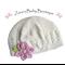 Baby Hat * Toddler Hat * Baby Beanie * Girls Flower Hat * Pink * White * ZBB