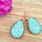 Aqua, Rose Gold Teardrop Glass Earrings