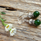 Natural Emerald Gemstone & Tibetan Bead Earrings