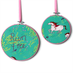 """Run Free"" hoop art pair"